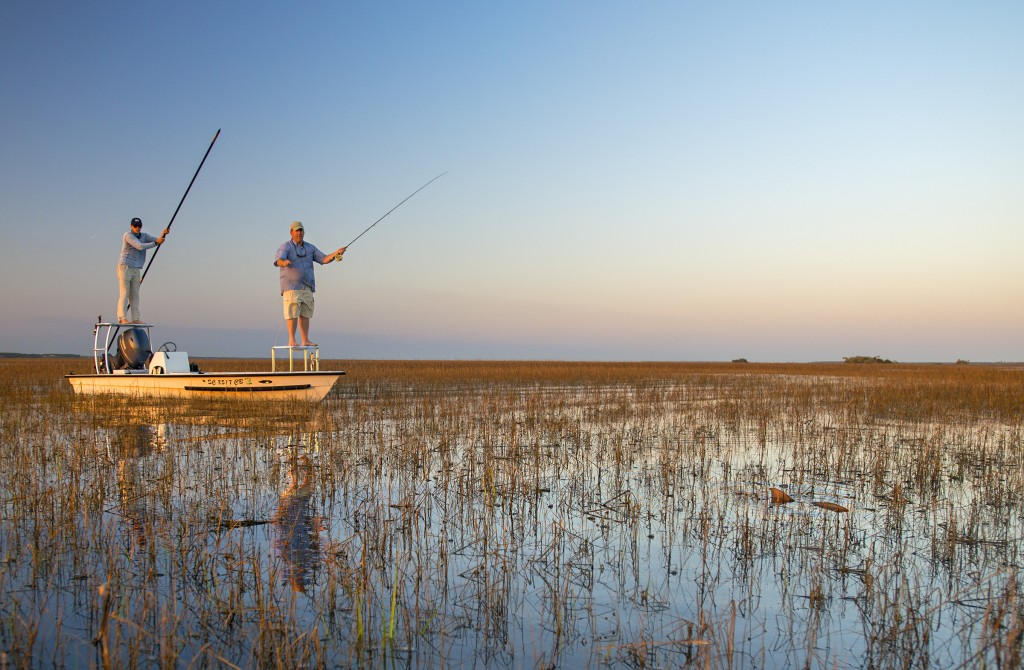 Captain Jeremy Mehlhaff guiding a client to a tailing redfish near Charleston, SC.