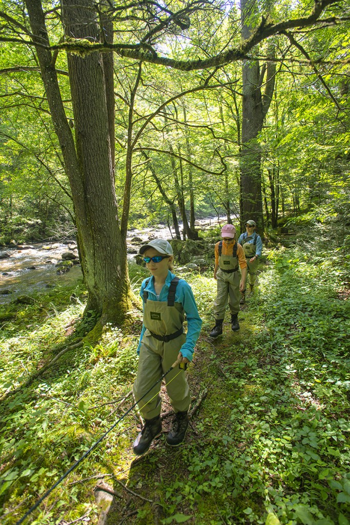 Walking a trail in the Smokies in Orvis Waders