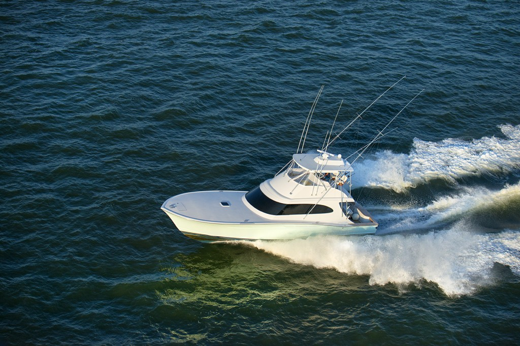 Sport Fisher heading out of Charleston Harbor shot from helicopter