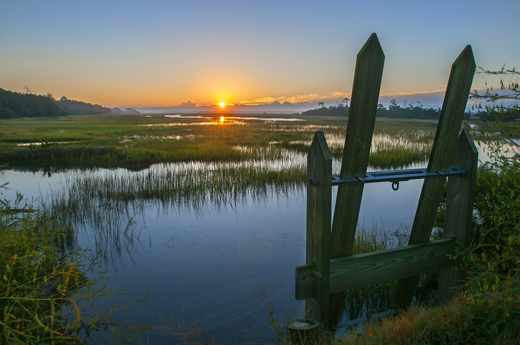 High tide and sunrise meet at Kiawah River Plantation