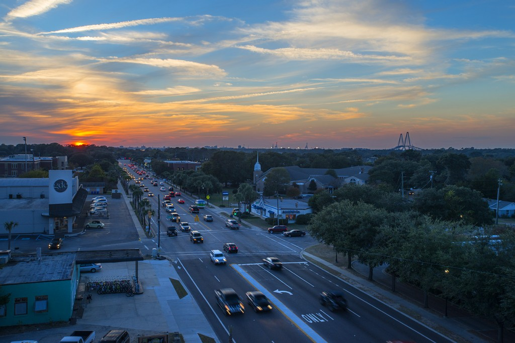Coleman Boulevard at sunset from The Boulevard
